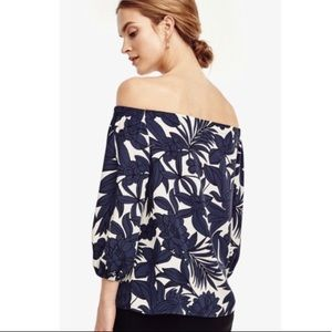 Ann Taylor Tropical Floral Off The Shoulder Blouse